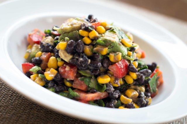 Black Bean Salad with Avocado, Lime, Cilantro, Red Pepper