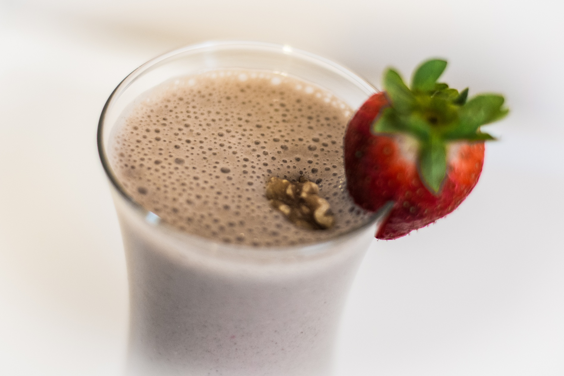 Strawberry Walnut Banana High Protein Smoothie