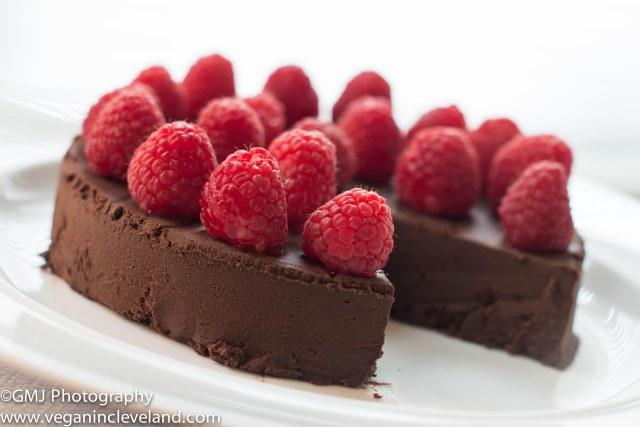 Flourless vegan chocolate cake with raspberries. Mmmm!