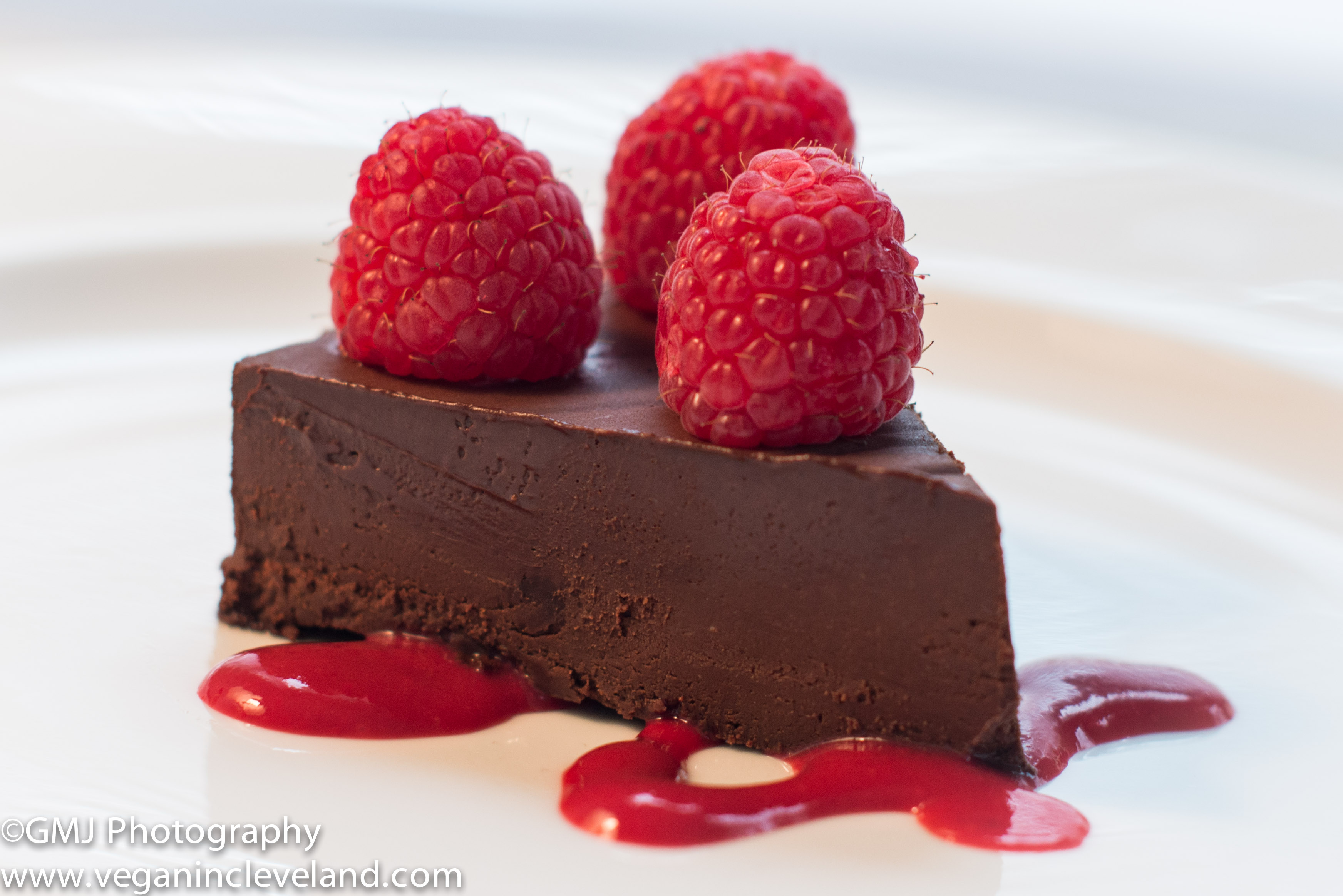 Chocolove Flourless Chocolate Cake with Raspberry Coulis Vegan in