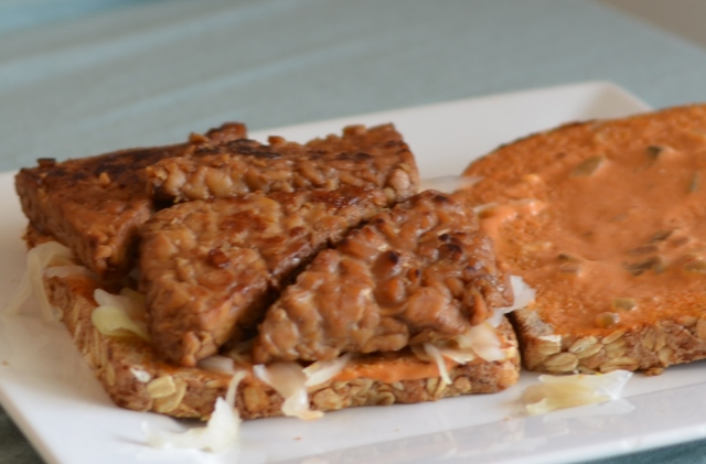 The best vegan sandwich out there! Marinated tempeh reuben.